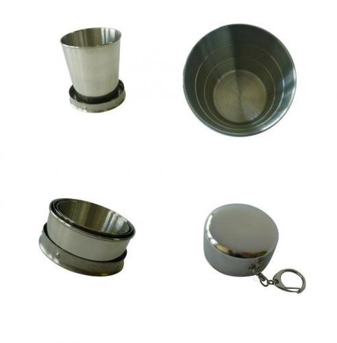 Skládací (teleskopický) hrnek nerez 150 ml s karabinkou (štamprle,panák)